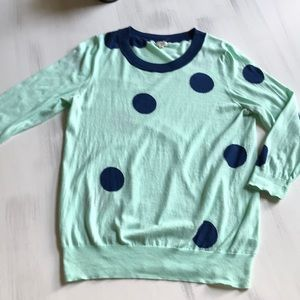 J. Crew sweater - mint green with navy dots